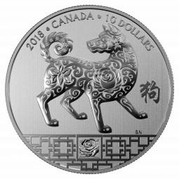 10 CAD Silber Specimen Lunar Year of the dog - Jahr des Hundes Kanada 2018 Canada