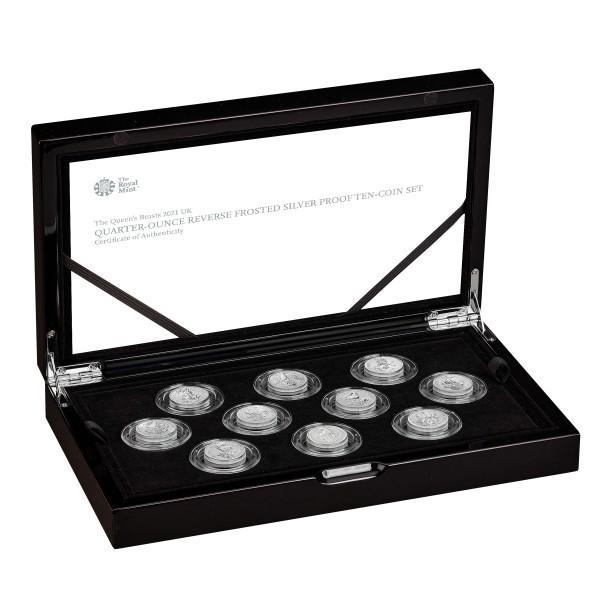 Queen's Beasts Silber Proof Set 10 x 1/4 Unze Silber Proof 5 £ United Kingdom 2021