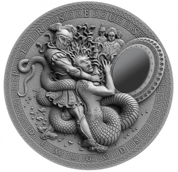 2 Unzen Silber Antique Finish Demigods - Perseus 2$ Niue 2018