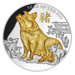 5 Oz Silber Proof Gilded Year of the Pig Jahr des Schweines 2019 Niue 8$