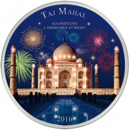 2 Unzen Silber Taj Mahal Magnificent Landmarks at Night Elfenbeinküste 2016