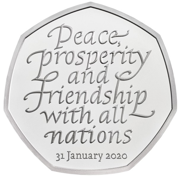 50 Pence Silber Proof Brexit Withdrawal from EU - UK 2020 Royal Mint