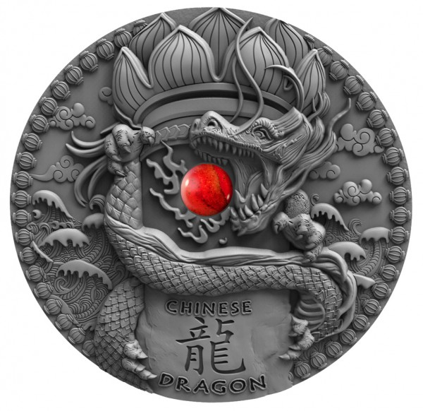 2 Ounce Silver Antique Finish Dragons - Chinese Dragon 2$ Niue 2018