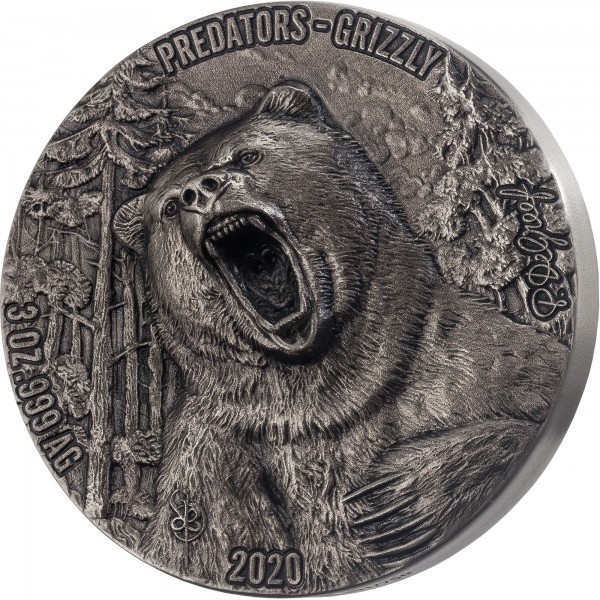 3 Ounce Silver Antique High Relief Predators - Grizzly 5000 Francs CFA Ivory Coast 2020
