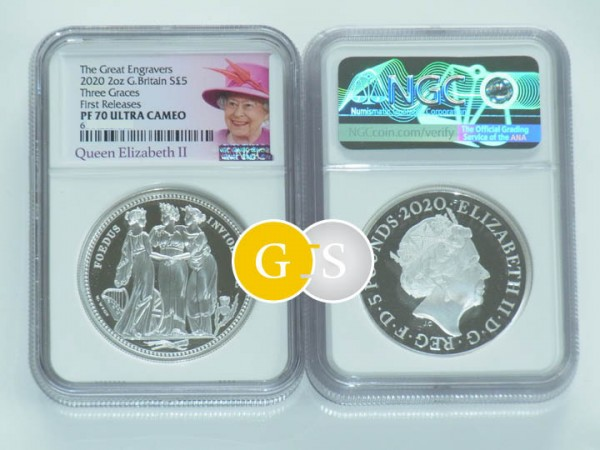Three Graces - The Great Engravers - PF 70 First Releases 2 Ounce Silver Proof 5 £ United Kingdom 2020