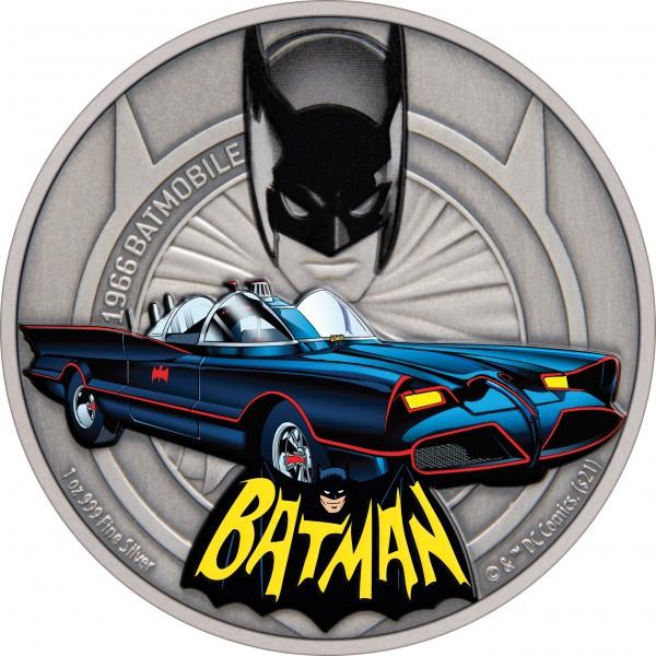 1 Ounce Silver Antique Batmobile - 1966 Batmobil 2$ Niue 2021