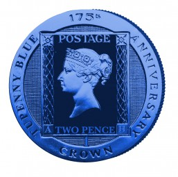 Two Pence Blue Stamp - Coloured Proof Sterling Silver Crown 2015