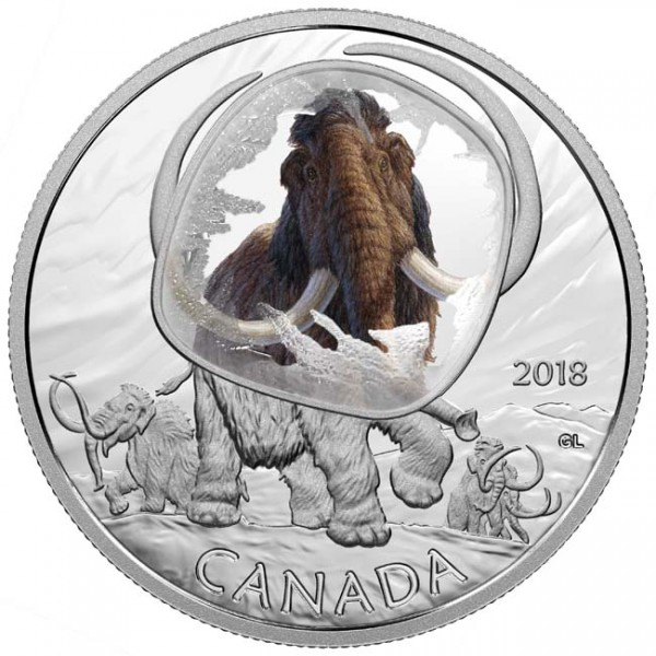 20 Dollar 1 Oz Silber Proof Frozen in ice - Woolly Mammoth Kanada 2018 Canada