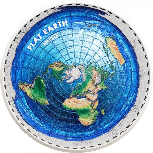 2 Ounces Silver Proof Great Conspiracies – Flat Earth 10$ Dollar Palau 2019