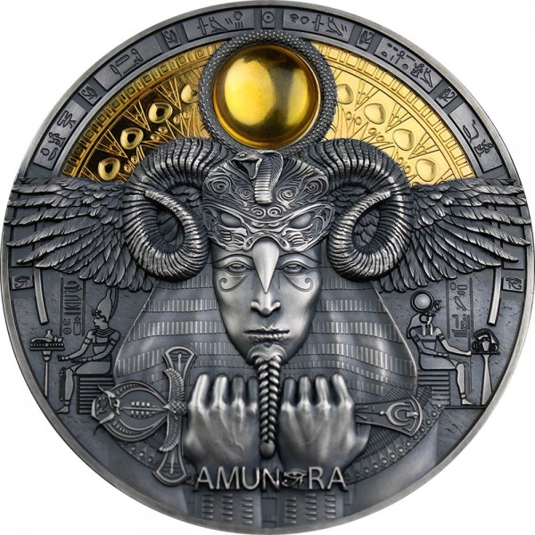 3 Oz Silber Antique Amun Ra - Divine Faces of the Sun 5$ Niue 2020