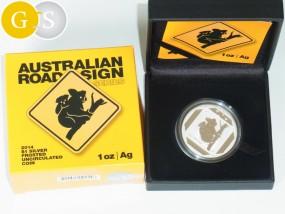 1 Unze Silber Frosted Koala Australian Road Sign Australien 2014