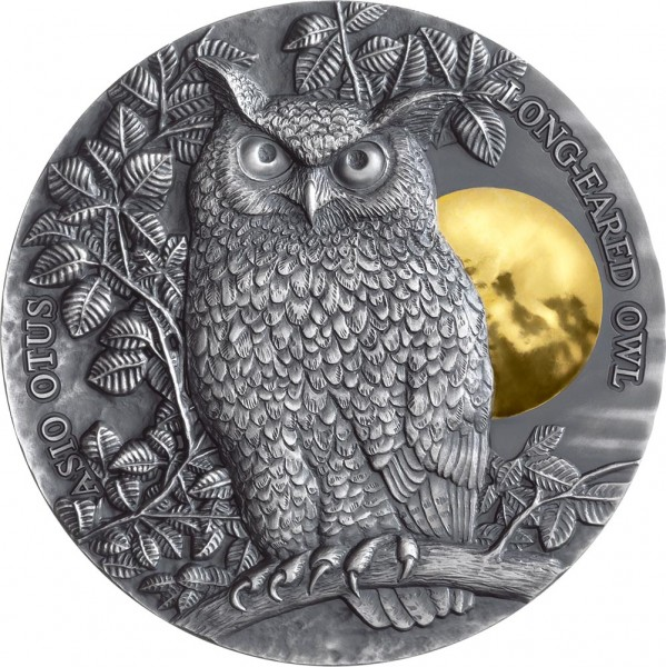2 Ounce Silver Antique Finish Long - Eared Owl 5$ Niue 2019