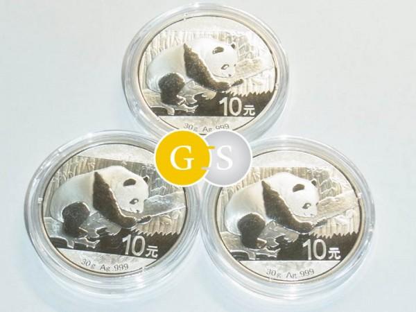 3 x 30 Gram Silver BU Panda 3x 10 Yuan China 2016 capsuled