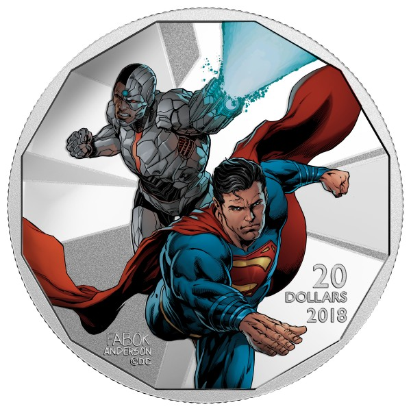 1 Oz Silber Proof Justice League - Cyborg und Superman 20 CAD Kanada 2018 Canada