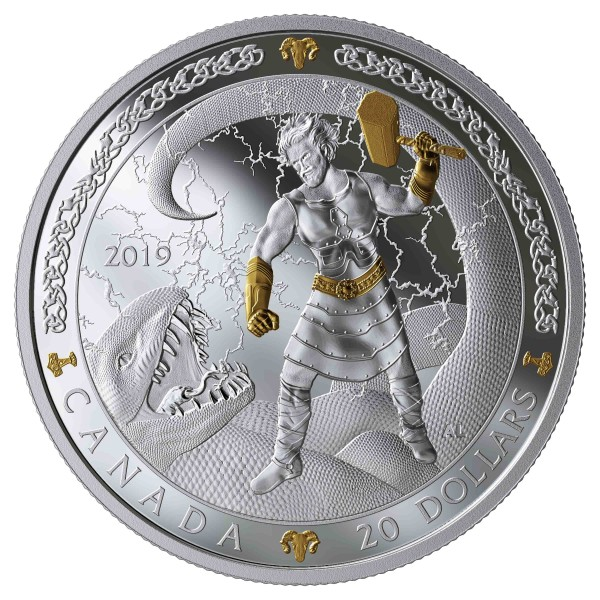 20 Dollar 1 Ounce Silver Proof Norse Gods - Thor Canada 2019