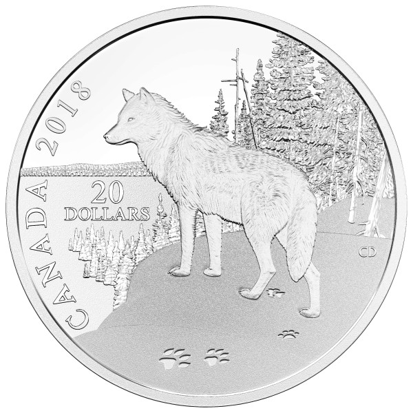 1 Oz Silber Proof Nature´s Impressions: Wolf 20 CAD Kanada 2018