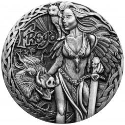 2 Unzen Silber High Relief Antique Finish Norse Goddesses - Freya Tuvalu 2017