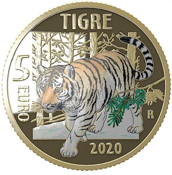 5 Euro Proof Tiger - Endangered Animals Italy 2020
