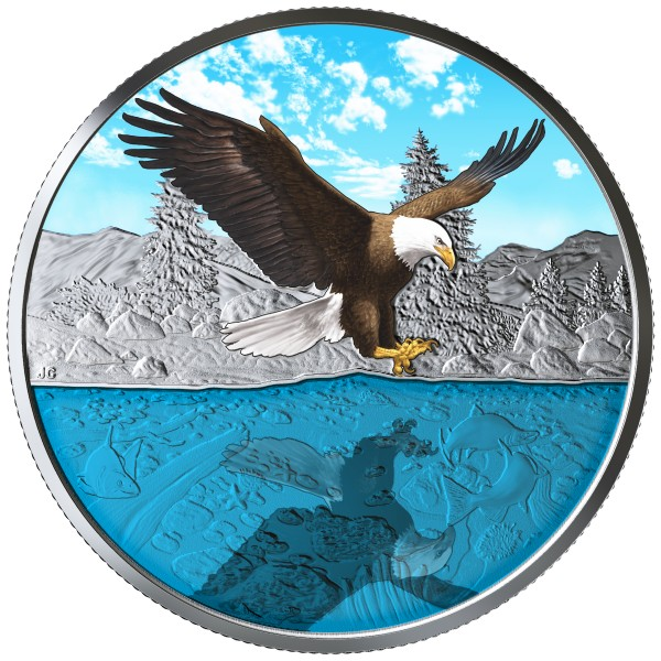 20 Dollar 1 Ounce Silver Proof Reflections - Bald Eagle Canada 2019