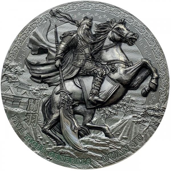 3 Oz Silber Black Proof Five Tiger Generals - Guan Yu 5$ Niue 2020