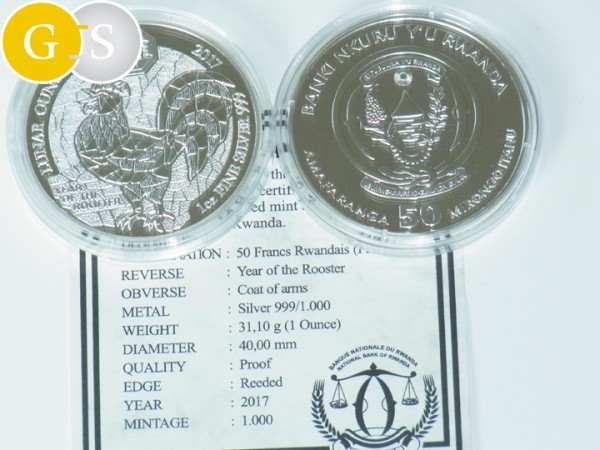 1 Unze Silber Proof Year of the Rooster Hahn Ruanda 2017 Silver Rwanda