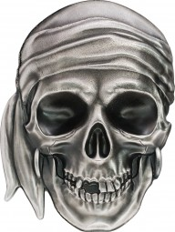 1 Unze Silber Antique Finish Pirate Skull 5$ Palau 2017