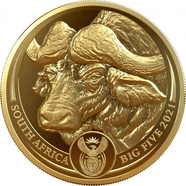 1 Ounce Gold Proof Big Five - Buffalo 50 Rand South Africa 2021