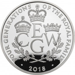 5 £ Pfund Silber Proof The Four Generations of Royalty United Kingdom 2018 Royal Mint