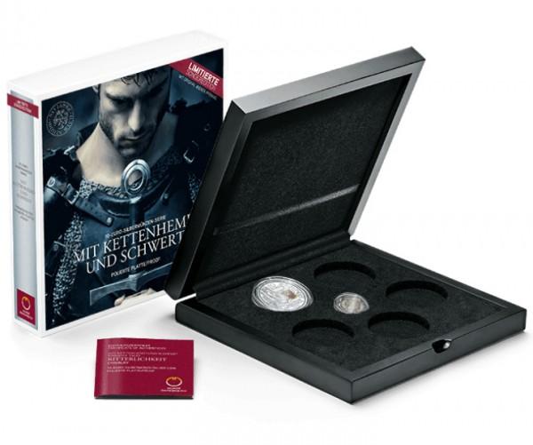 Sammelkassette für die 10 Euro Silber Proof Serie - Mit Kettenhemd und Schwert Österreich