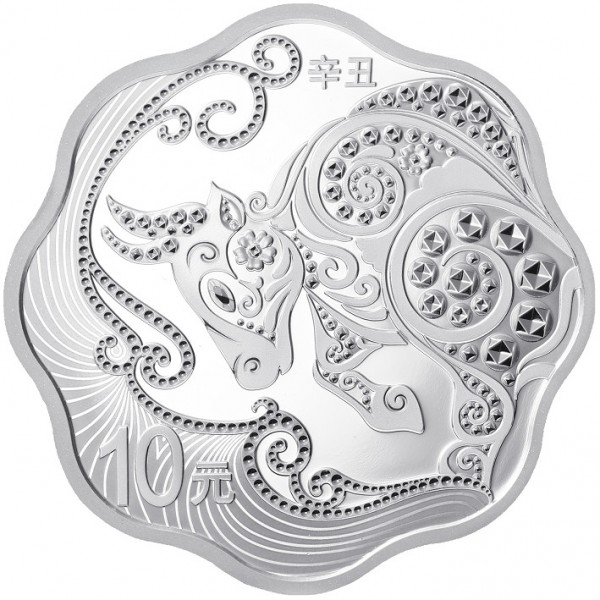 30 Gram Silver Proof Lunar Year of the Ox Blossom China 2021
