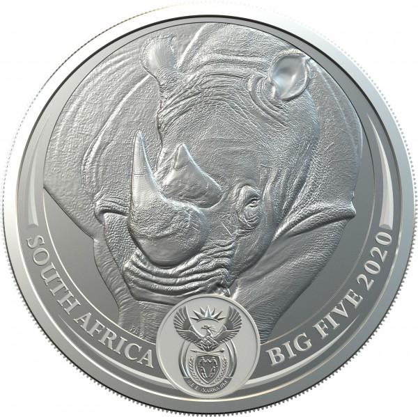1 Ounce Silver BU Big Five Rhino South Africa 2020