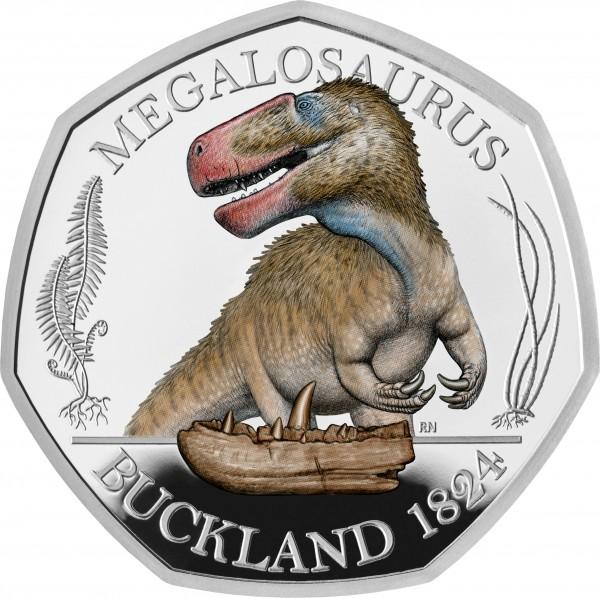 50 Pence Silber Proof Colour Megalosaurus - The Dinosauria UK 2020 Royal Mint