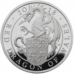 1 Oz Silber Proof Queens Beasts Red Dragon of Wales Drache 2 £ United Kingdom 2018