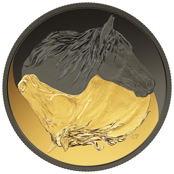 1 Oz Silber Matte Proof Black and Gold: The Canadian Horse 20 CAD Kanada 2020