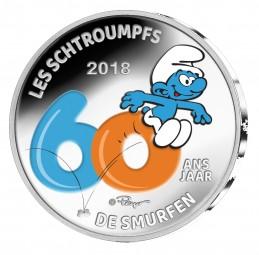 5 Euro Silber Proof color 60 Jahre Schlümpfe Belgien 2018