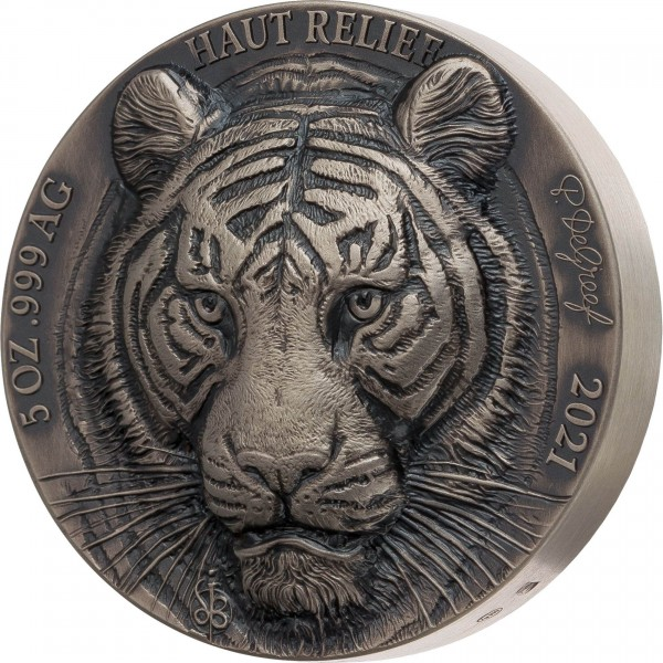 5 Ounce Silver Antique High Relief Big Five Asia - Tiger 5000 Francs CFA Ivory Coast 2021