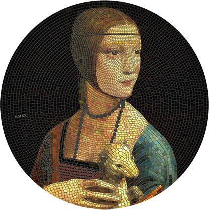 3 Unzen Silber Proof Dame mit dem Hermelin Great Micromosaic Passion 20$ Palau 2020