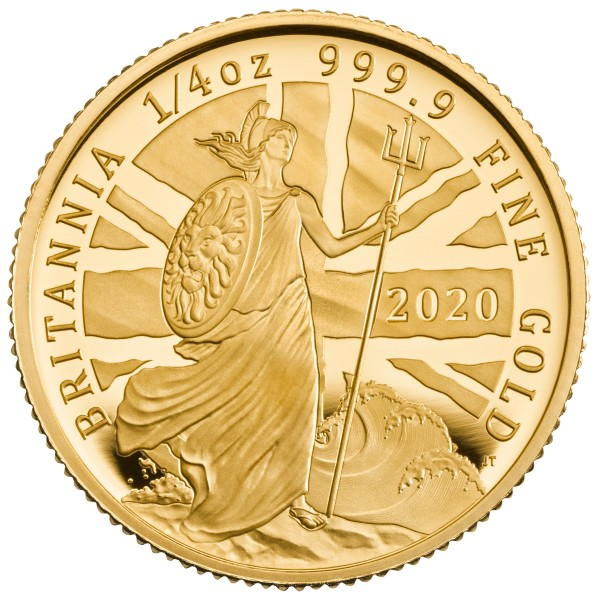 1/4 Oz Gold Proof The Britannia 25 £ Pfund United Kingdom 2020