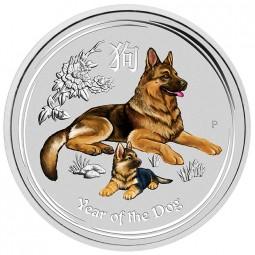 1 Unze Silber BU Lunar Dog Hund farbig Australien 2018