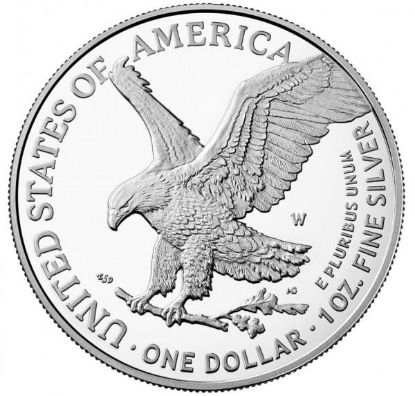 American Eagle Type 2 - 1 Ounce Silver Proof Mintmark W 1 $ USA 2021