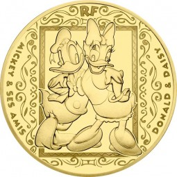 50 Euro 1/4 Unze Gold Proof Mickey and friends - Donald & Daisy Duck Frankreich 2018