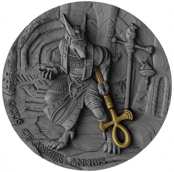 2 Unzen Silber Antique Finish Gods of Anger - Anubis 5$ Niue 2019
