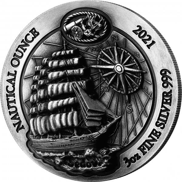 Nautical Ounce Sedov 3 Unzen Silber Antique Finish Ruanda 2021 Silver Rwanda