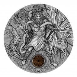 2 Oz Silber Antique Finish Slavic Gods - Perun 2$ Niue 2018