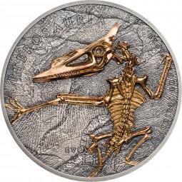 1 Unze Silber Antique Finish Pterosaur Evolution of Life Mongolei 2018