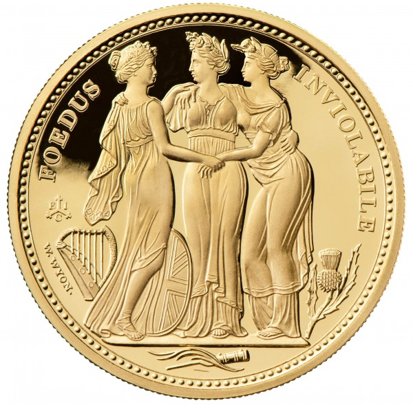 The Three Graces Masterpiece 1 Ounce Gold Proof - 5 £ St. Helena 2021