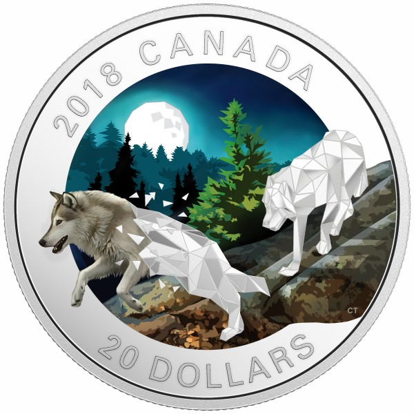 20 Dollar Silver Proof Geometric Fauna Series: Grey Wolves Canada 2018
