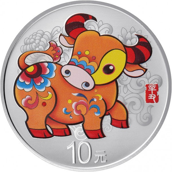 30 Gram Silver Proof Lunar Year of the Ox Colour China 2021