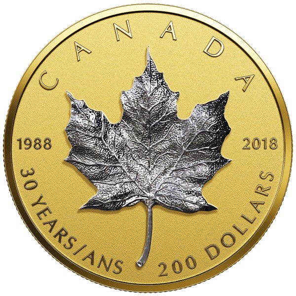 200 Dollar Gold Proof 30th Anniversary of the SML ( Silver Maple Leaf ) Kanada 2018