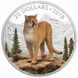 1 Oz Silber Proof Majestic Wildlife: Courageous Cougar 20 CAD Kanada 2018